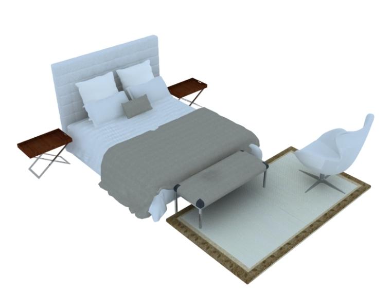 柔软舒适双人床3D模型下载