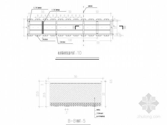 市政道路50cm机非隔离带花坛设计图