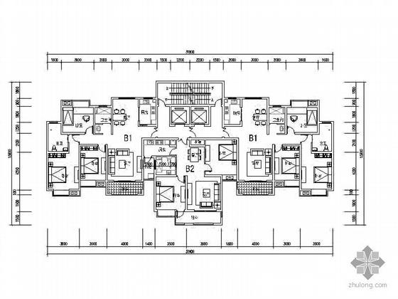 塔式高层一梯三北梯户型图(123/90)