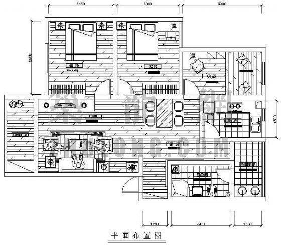某样板房装修图纸(三室两厅)