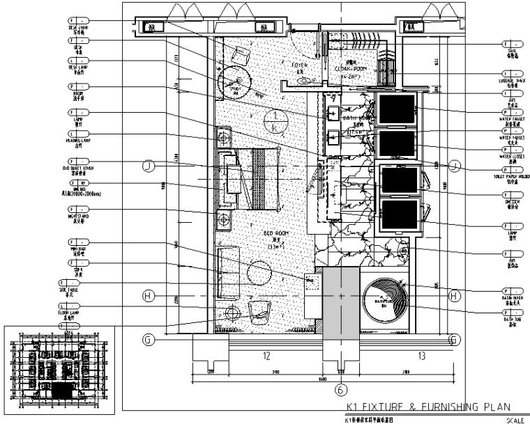 中山希尔顿酒店设计施工图(附效果图)-家具平面布置图