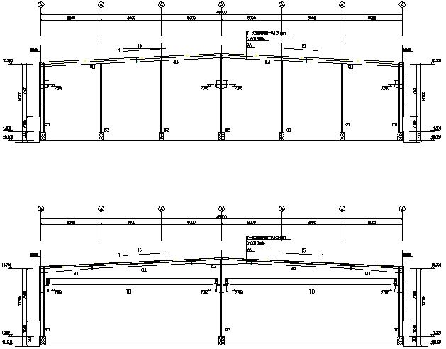 200×48m门式刚架结构厂房工程施工图(CAD,9张)