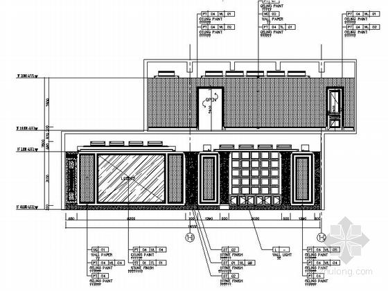 [上海]市级行政区高档简欧风格售楼处CAD装修施工图(含全套方案)立面图