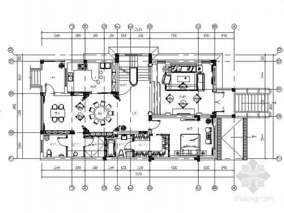[江苏]豪华欧式风格两层别墅室内装修施工图(含效果)