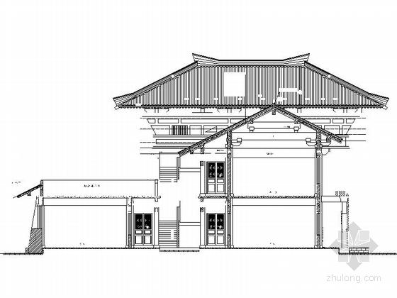 仿古3层单檐道学院立面图