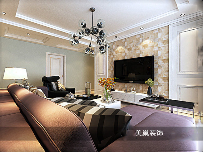 中海锦苑129平三室两厅装修效果图唯美轻美式_2