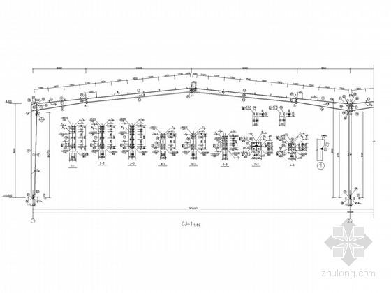 60米跨,204米长带夹层门式刚架厂房施工图(含建施)