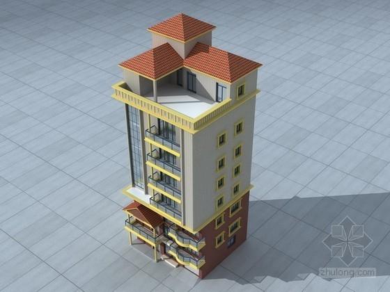 独栋住宅楼建筑3d模型下载