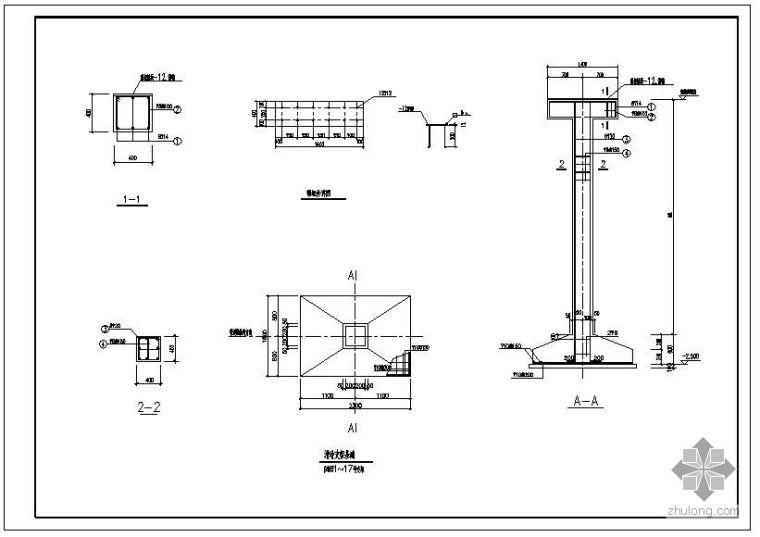 某钢结构管道支架及基础节点构造详图