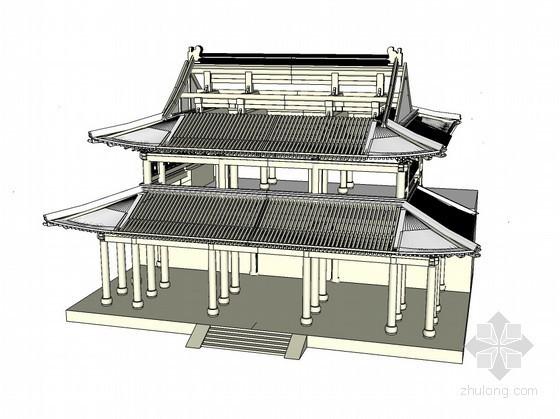 天王殿构架模型