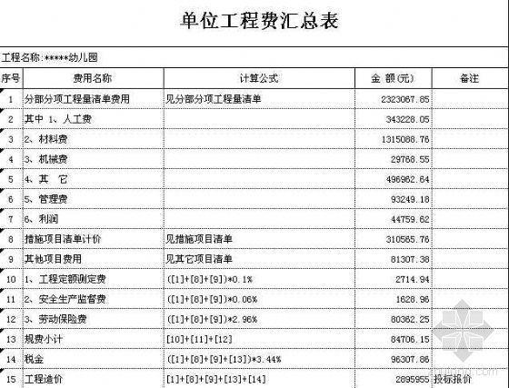 江苏某幼儿园土建工程清单报价(2008-8-20)