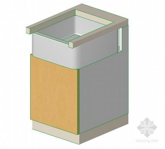 带溢流平沿水槽的1门柜子 archiCAD模型