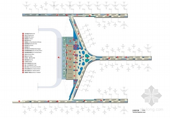 [河南]单个一体化屋顶枢纽机场建筑设计方案文本-单个一体化屋顶枢纽机场建筑平面图