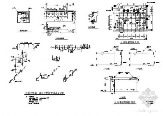 某高层建筑公共卫生间及生活增压泵房大样图