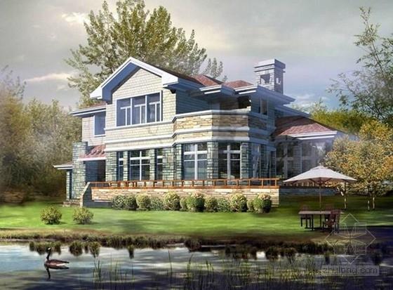 [新农村]2层简欧式独栋别墅建筑设计施工图(含效果图)