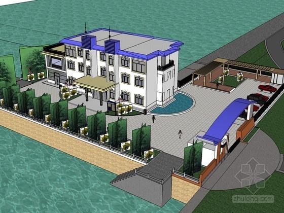 滨水办公建筑SketchUp模型下载