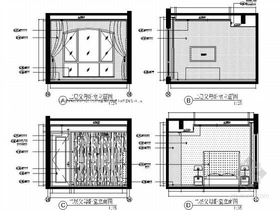 [成都]瑰丽风格三层别墅样板间室内装修图(含方案文本) 立面