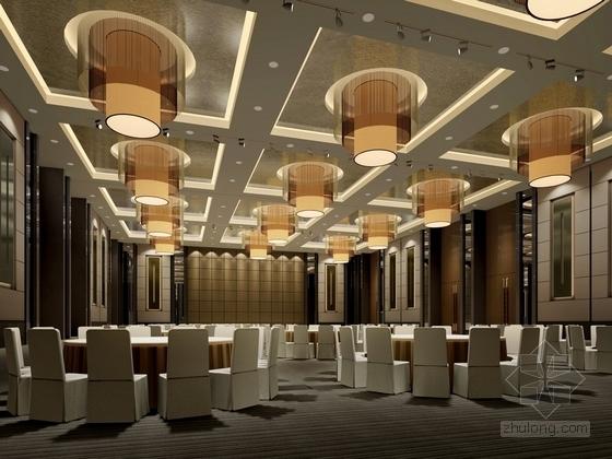 [苏州]环抱独墅湖水天一色苏式恬静会议酒店设计施工图(含方案及实景)宴会厅效果图