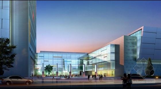 [合肥]大跨度空间广告及电视购物办公综合体建筑设计方案文本(含CAD)-大跨度空间广告及电视购物办公综合体建筑效果图