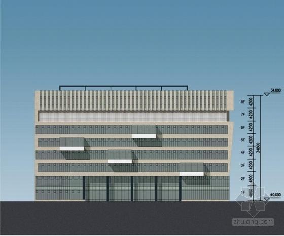 [江苏]方形天窗屋面办公楼规划建筑设计方案文本(含CAD)-方形天窗屋面办公楼规划建筑立面图