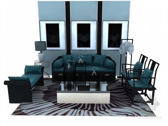 现代中式沙发组合3D模型下载