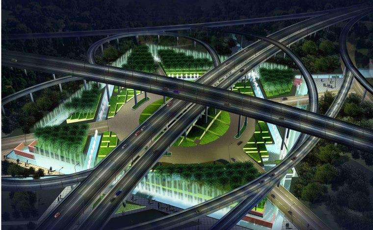 [江苏]苏州市沪宁高速公路西出入口景观规划方案设计(现代风格)-E段透视图1