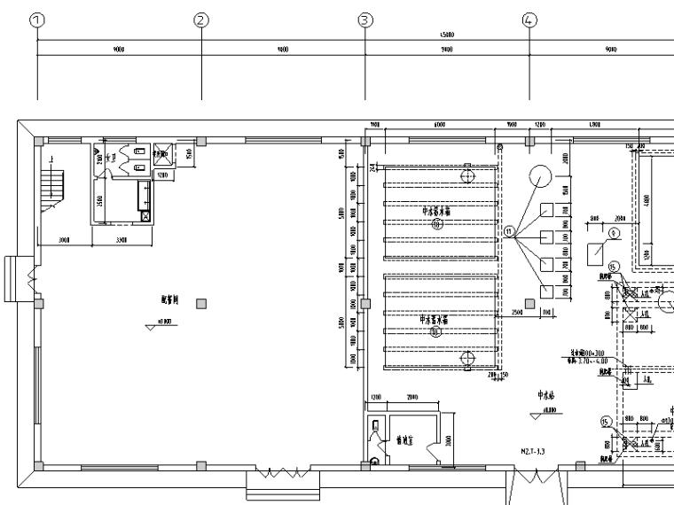 大型工业中水站施工图设计图(CAD)