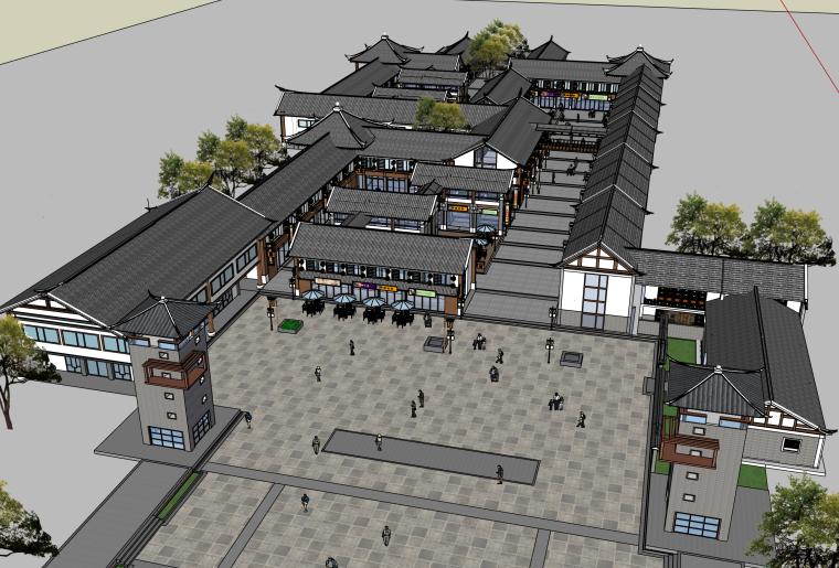 中式文化商业街建筑SU模型