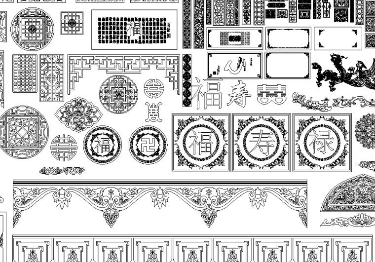中式家装窗格雕花CAD图块