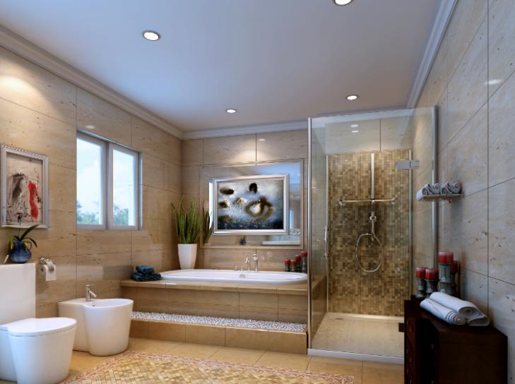 雅安三层豪华别墅室内设计施工图(含效果图)-卫生间效果图
