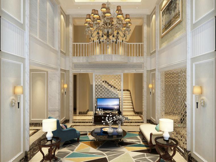 别墅客厅3D模型下载