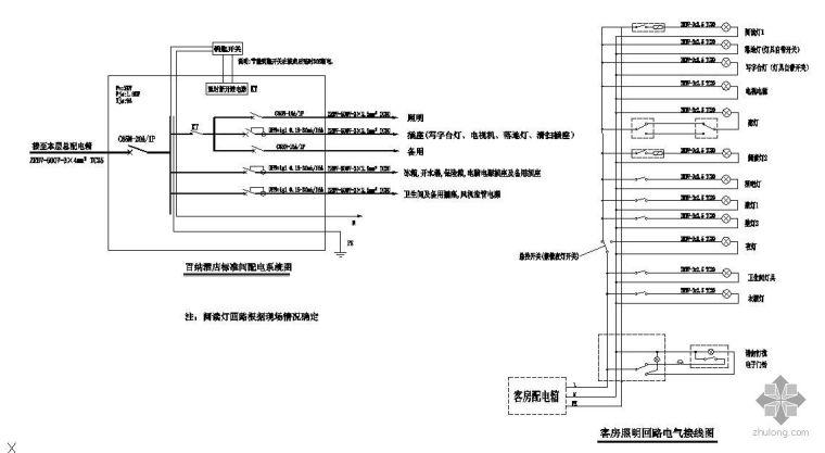 杭州某酒店标准间配电系统图