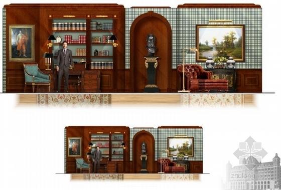 高级品牌国际连锁酒店室内设计方案书房立面图