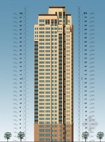 [福建]高层大尺度院落塔式沿海住宅建筑设计方案文本-高层大尺度院落塔式沿海住宅建筑立面图