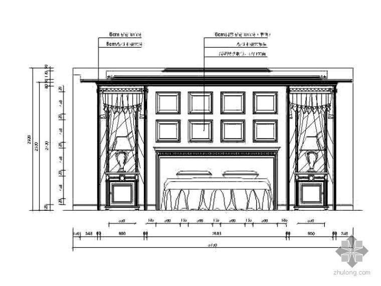 欧式卧室背景立面图