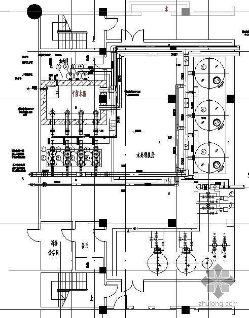 某学校泳池机房管道平面及剖面图