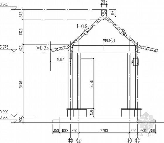 ITKE研究展亭景观资料下载-仿古四角亭及景观长廊结构施工图