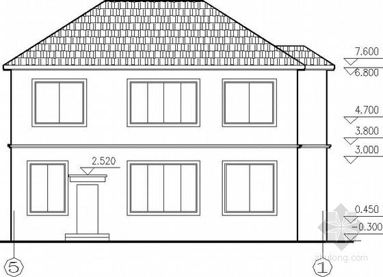 坡屋顶框混别墅建筑结构图