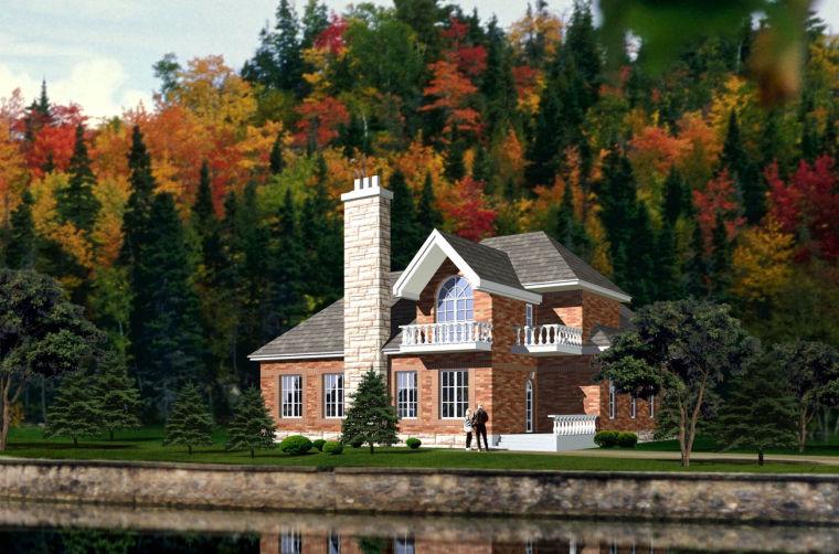 高度4.95米欧式小风格建筑别墅设计(包含CAD)