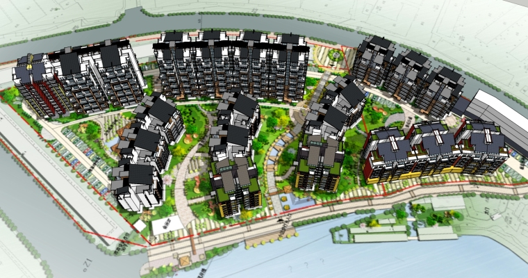 新中式住宅建筑设计SU模型