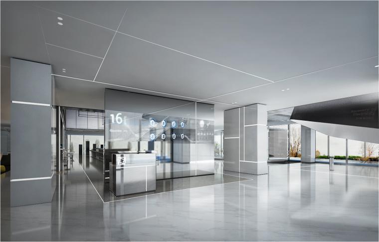 [上海]知名地产御河硅谷售楼空间设计施工图(附效果图+软装方案)-前台