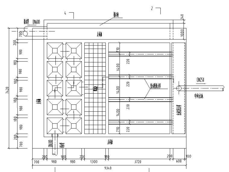 广东某纯水公司反应沉淀池平剖面节点图