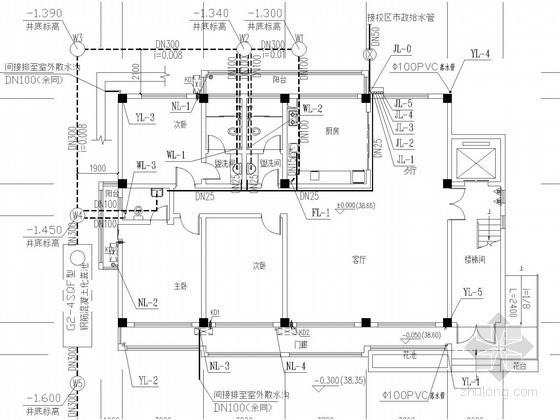 [湖南]多层住宅楼给排水施工图(太阳能 冷凝水)