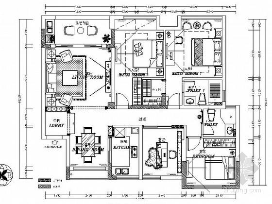 全国前五强地产商设计新古典主义风格样板房装修施工图(含效果图  )