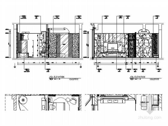 [海南]超大型世界级豪华酒店客房部分室内施工图 立面图