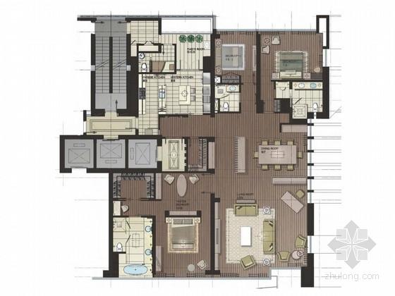 [珠海]黄金商业地带典雅简欧三居室样板间设计方案