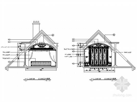 精品豪华欧式风格三层别墅室内装修施工图(含方案效果图)卧室立面图