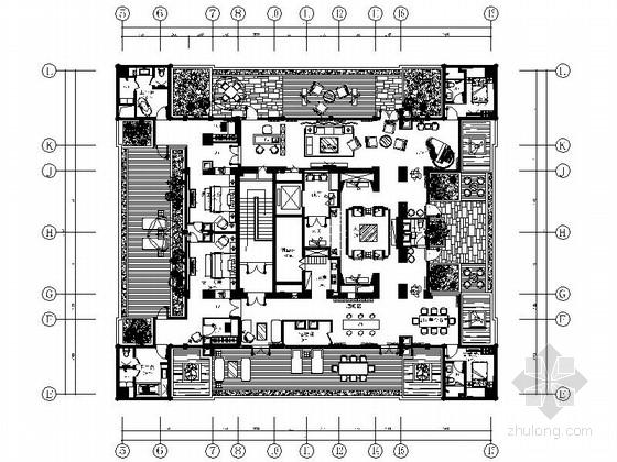[山东]高级五星级中式酒店总统套房装修施工图(含效果)