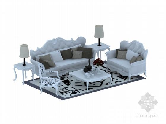 白色欧式沙发3D模型下载