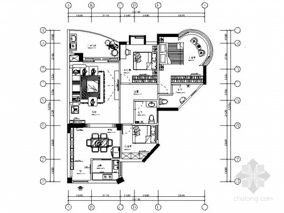 高档住宅区现代三居室样板间装修施工图(含软装效果)